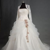 A-line Strapless Long- Sleeve Cathedral Train Satin Tulle Wedding Dress With Lace Wrap Beading Free Shipping