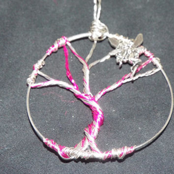 Tree of Life, Pink Fairy Wire Wrapped Tree Pendant, Tree Necklace Charm, Handmade Birthstone Wire Tree
