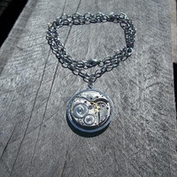 """Tree of Life"""" - Reversible Steampunk Pendant Necklace, Silver Elgin Watch Movement on Silver Belcher Link Princess Chain"""