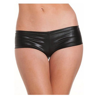 Sexy Underwear Low Waist Hip Patent Leather Shorts Black Silver Gold Color