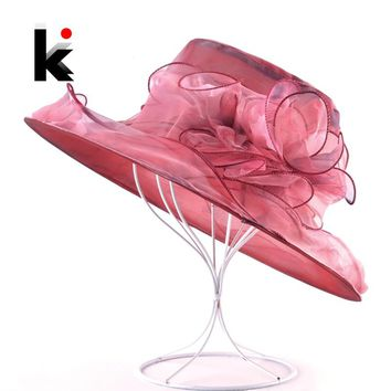 Women Summer Sun Hat Organza Flower Kentucky Derby Hats Ladies Wide Brim Sun Protection Beach Cap Female Elegant Bucket Caps