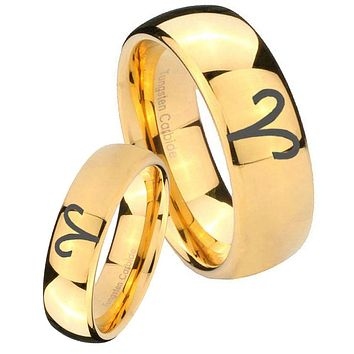 His Her Glossy Dome Aries Zodiac 14K Gold IP Tungsten Wedding Rings Set