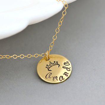 Gold or Silver Disc Necklace, Name Necklace, Gift For Her, Name Disc Necklace, Personalized Princess Necklace