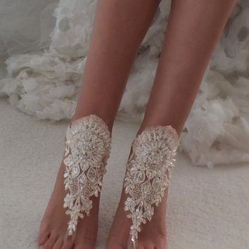 Blush barefoot sandals, Lace barefoot sandals, Wedding anklet, Beach wedding barefoot sandals, Bridal sandals, Bridesmaid gift, Beach Shoes