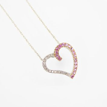 14k White Gold Heart Pendant w/ Tiny Diamonds & Pink ?? Slider Charm on White Gold Chain, Vintage 1960s 1970s, Birthday Anniversary Gift