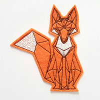 Origami Geometric Fox Iron On Patch, embroidered patch, patches for jackets, felt animals, cute patches, origami drawing