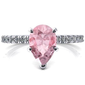 Sicili Pear Pink Sapphire 5 Prong 3/4 Micro Pave Diamond Engagement Ring