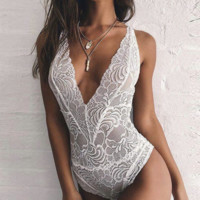 Hot sale fashion sexy lace hollow show thin V neck backless underwear one piece