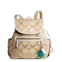 Coach Light Khaki Signature Sateen Daisy Backpack Bag - Coach 16556KW