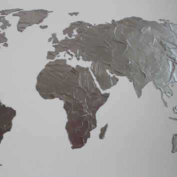 Hand painted map of the world silver on white by 10kiaatstreet