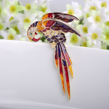 Ruby Red Birds Brooch Pin Perfect Enamel Brooches women Birthday Gift Broche Gold Brooches Pins Broches Women Hijab Accessories