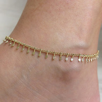 delicate anklet, gold chain anklet, leg bracelet anklet, gold anklet, beaded chain anklet, dainty anklet, foot jewelry, thin gold anklet