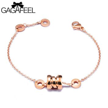 GAGAFEEL Trendy Bracelet For Women Round Circle Bangles For Lady Jewelry Stainless Steel Rose Gold Color Link Chain Bracelets