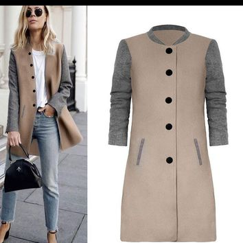 Round Neck Contrast Long Coat