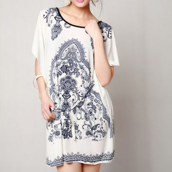 NEW arrival 2014 summer women's meryl fabric loose style dress American & European fashion women floral print vintage tunic