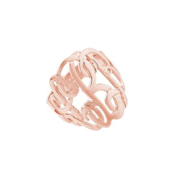 Sterling Silver Personalized Three Initial Monogram Ring