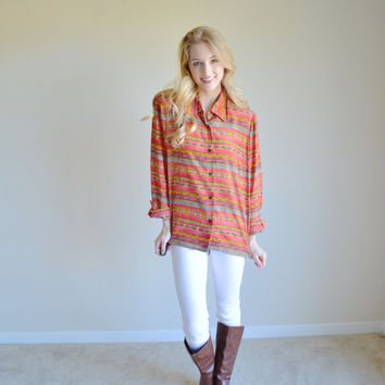 Vintage Tribal Print Long Sleeve Womens Aztec Print Silk Shirt Bright Colored Geometric Southwestern Bohemian Long Sleeve Boho Shirt