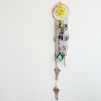 Yellow FLORAL Dreamcatcher~ Shabby Chic Decor~ Small Dream Catcher~ Home & Living~ Boho Girls Boys~Wall Hanging~Old Keys ~ Bedroom Decor