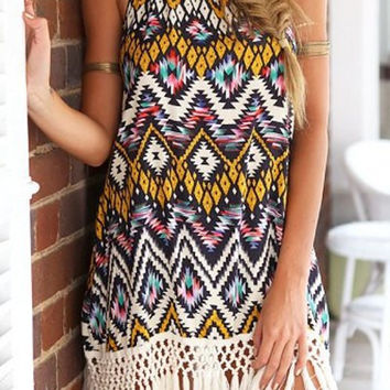 Bohemian Fringe Summer Dress
