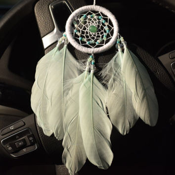 Car Accessory for Women, Boho Dream catcher,  Mint and White Dreamcatcher, Rear View Mirror Charm, Mini Car Dreamcatcher, Bohemian Decor