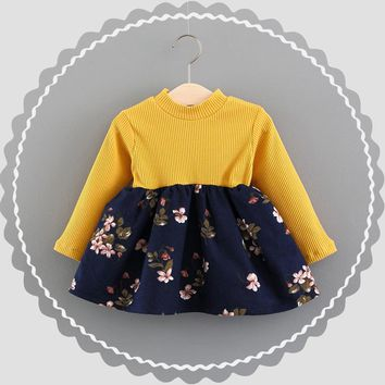 Toddler Infant Baby Girls Floral Knitted Splice Long Sleeve o-neck Princess Dress Cotton fashion costume winter outfit clothes