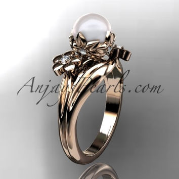 14kt rose gold diamond pearl unique engagement ring, wedding ring AP159