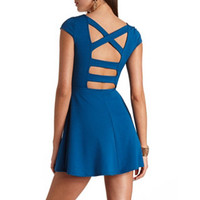 TEXTURED CAGED-BACK SKATER DRESS