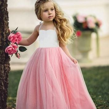 Pink-White Patchwork Grenadine Draped Backless High Waisted Daddy Daughter Dance Cute Maxi Dress