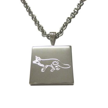 Silver Toned Etched Fox Pendant Necklace