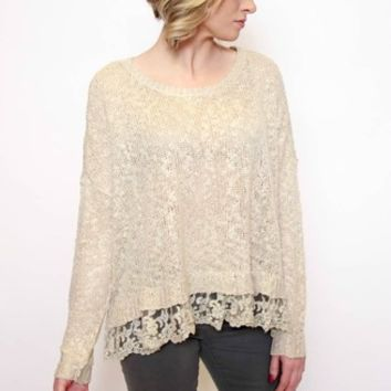Peek Out Lace Sweater | Cecico