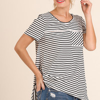 Striped Top with Ladder Lace Detail