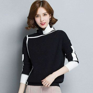 MY MALL METRO  Short paragraph high-necked long-sleeved sweater loose spell color sweater Womens  Check Homepage for Promo Codes! <