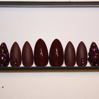 Matte burgundy and swarovski crystal accent nail fake nails press on nails