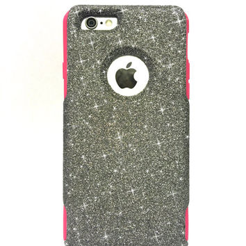 Custom iPhone 6 Plus Glitter Otterbox Commuter Cute Case,  Custom  Glitter Graphite / Pink Otterbox Color Cover for iPhone 6 Plus
