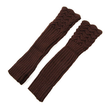 Autumn Winter Hollow Out Crochet Fingerless Mittens Knitting Long Arm Warmer Gloves