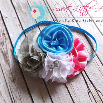 Big Birthday Headband - Pink Gray White Aqua Headband - Flower Headband - Baby Headband - Girls Hairband - Toddler Hair Bow - Newborn Prop