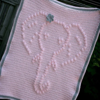 Elephant baby blanket crochet afghan in soft pink, and light gray perfect photo prop car seat travel size