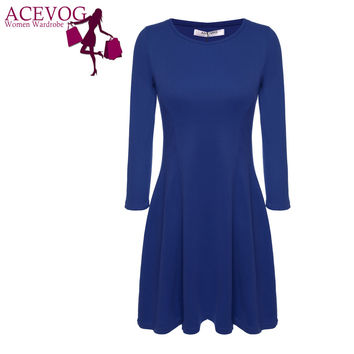 ACEVOG Women Casual Autumn Winter Dress Knee Length Midi Cotton Blend 3/4 Sleeve Slim Fitted Solid Color Dress Plus Size M-XXL