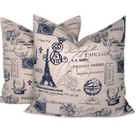 Decorative Throw Pillows Navy and Cream Linen Paris Print TWO 16x16 Covers