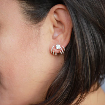 Spider Ear Jackets / Rose Gold Plated on Sterling silver/Pair
