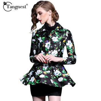 TANGNEST Women Spring Autumn Print Blazers New Long Sleeve Turn-down Collar Ruffle Fashion Blazer Jackets Blazer Feminina WWX394