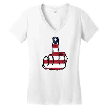 Middle Finger USA Flag Women's V-Neck T-Shirt