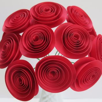 "Red 1.5"" Paper Flowers with Stems, One dozen red roses, bride bouquet, table centerpiece flowers for vase Paper rosettes Bridal shower decoration"