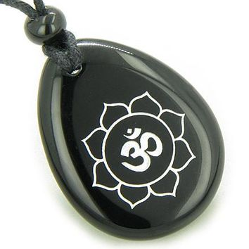 Magic OM and Lotus Sun Circle Amulet Black Onyx Lucky Wish Stone Necklace