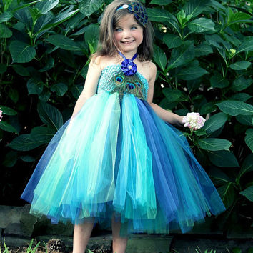 Peacock tutu dress - girls 2T 3T 4T - flower clip with rhinestone and three large eye feathers on front