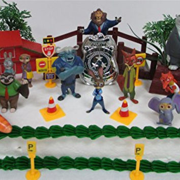 """ZOOTOPIA 20 Piece Birthday CAKE Topper Set Featuring Judy Hopps, Nick Wilde, Major Lionhart - Themed Decorative Accessories Including Police and Parking Meter Items - Figures Average 1.5"""" to 3"""" Tall"""