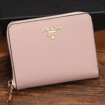 Prada Women Leather Zipper Wallet Purse G-MYJSY-BB
