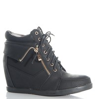 Top Moda Hiding In Plain Sight Peter-2 Lace Up Hidden Wedge Sneakers - Black