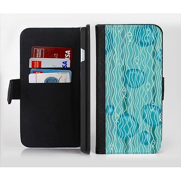 The Blue Abstarct Cells with Fish Water Illustration Ink-Fuzed Leather Folding Wallet Credit-Card Case for the Apple iPhone 6/6s, 6/6s Plus, 5/5s and 5c