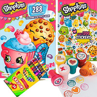 Shopkins Coloring & Stamper Activity Book Set - Include 1 Coloring Book (288 pages) , 1200 Stickers, 24 Crayola Crayons and 6 Fun Heart Stampers